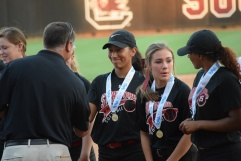 Accepting congratulations for State victory